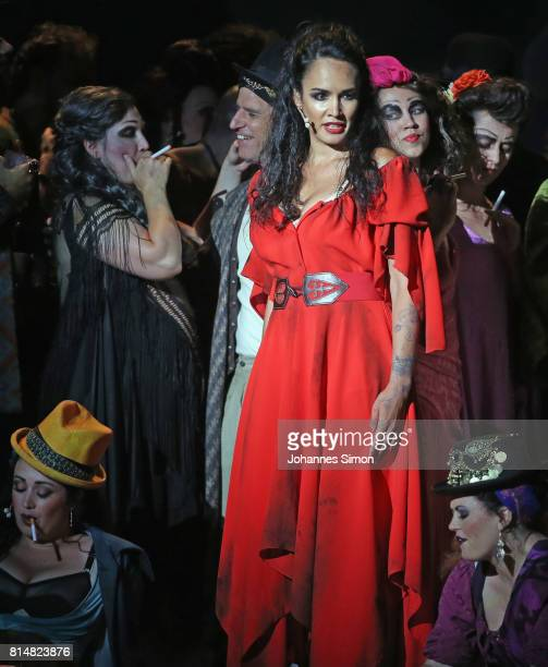 Gaelle Arquez as Carmen performs during the rehearsal of the opera 'Carmen' prior the Bregenz Festival on July 14 2017 in Bregenz Austria