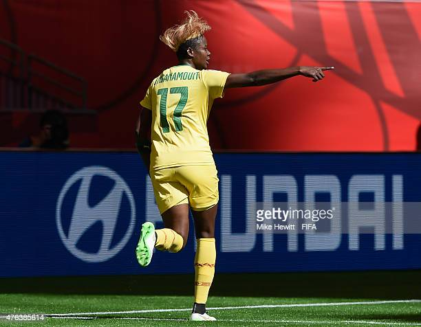 Gaelle Enganamouit of Cameroon celebrates after scoring her team's second goal during the FIFA Women's World Cup 2015 Group C match between Cameroon...