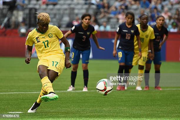 Gaelle Enganamouit of Cameroon completes her hat trick from the penalty spot during the FIFA Women's World Cup 2015 Group C match between Cameroon...