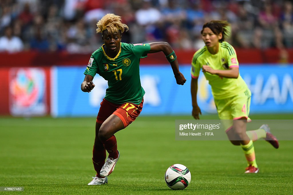 Gaelle Enganamouit of Cameroon in action during the FIFA Women's World Cup 2015 Group C match between Japan and Cameroon at BC Place Stadium on June 12, 2015 in Vancouver, Canada.