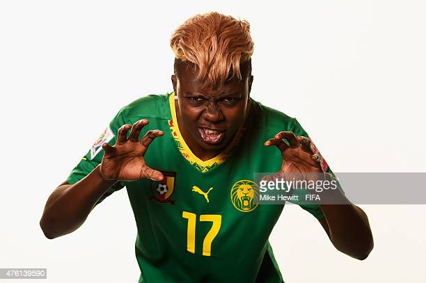 Gaelle Enganamouit of Cameroon poses for a portrait during the official Cameroon portrait session ahead of the FIFA Women's World Cup 2015 at the...
