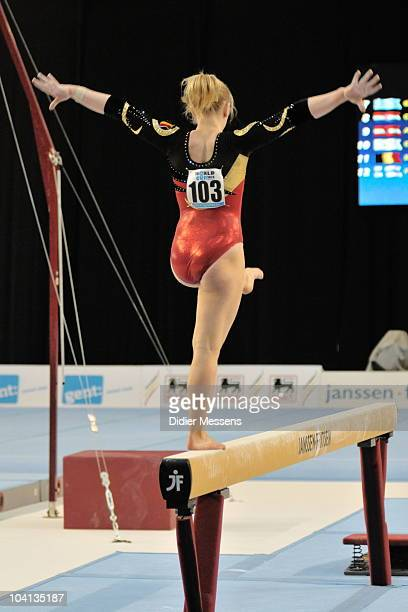 Gaelle performs on beam during the qualifications of the Worldcup Gymnastics on September 11 2010 in Gent Belgium