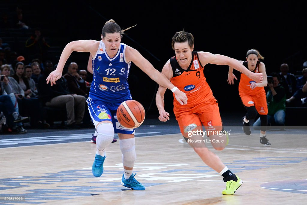 Gaelle Skrela of Lattes Montpellier and Celine Dumerc of Bourges during the French Cup final match between Bourges and Lattes Montpellier at Hotel Accor Arena Bercy on 1st May, 2016 in Paris, France.