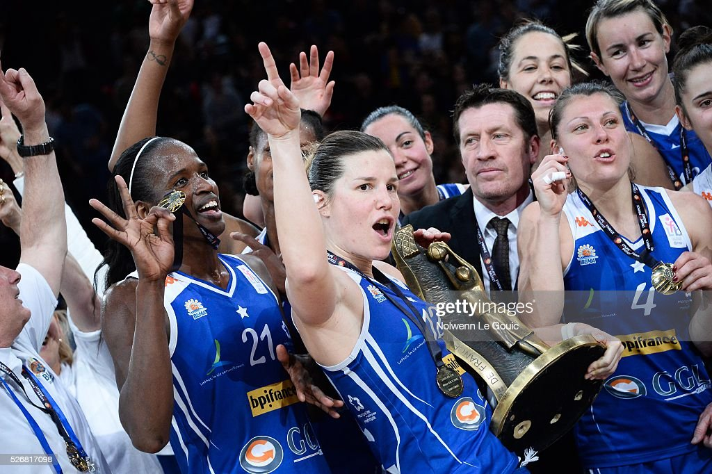 Gaelle Skrela of Lattes Montpellier celebrates victory during the French Cup final match between Bourges and Lattes Montpellier at Hotel Accor Arena Bercy on 1st May, 2016 in Paris, France.