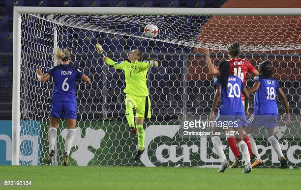 Gaelle Thalmann of Switzerland fails to keep the ball out the net for France's first goal during the UEFA Women's Euro 2017 Group C match between...