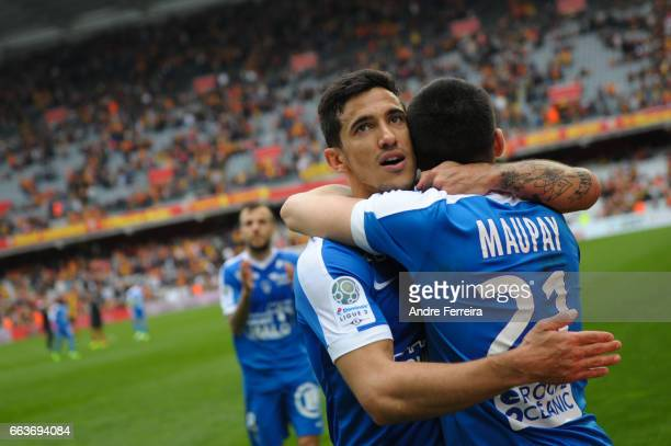 Gaetan Belaud of Brest and Neal Maupay of Brest celebrate during the French Ligue 2 match between Lens and Brest at Stade Felix Bollaert on April 1...