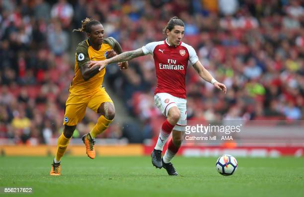 Gaetan Bong of Brighton and Hove Albion and Hector Bellerin of Arsenal during the Premier League match between Arsenal and Brighton and Hove Albion...