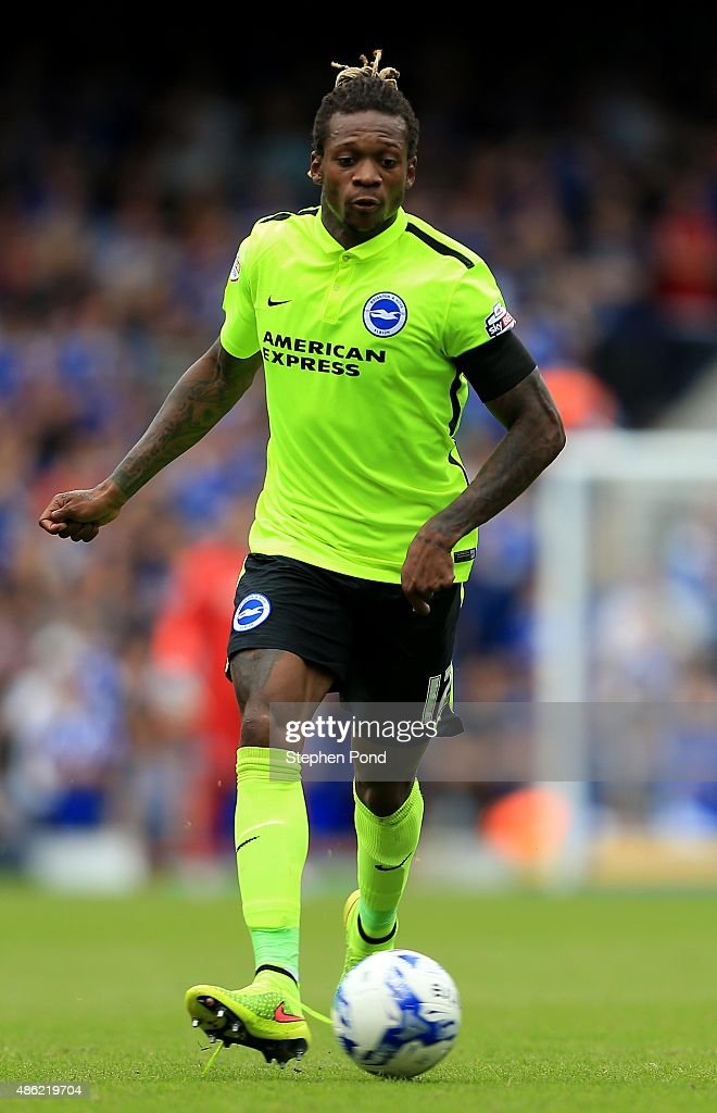 Gaetan Bong of Brighton during the Sky Bet Championship match between Ipswich Town and Brighton and Hove Albion at Portman Road stadium on August 29, 2015 in Ipswich, England.