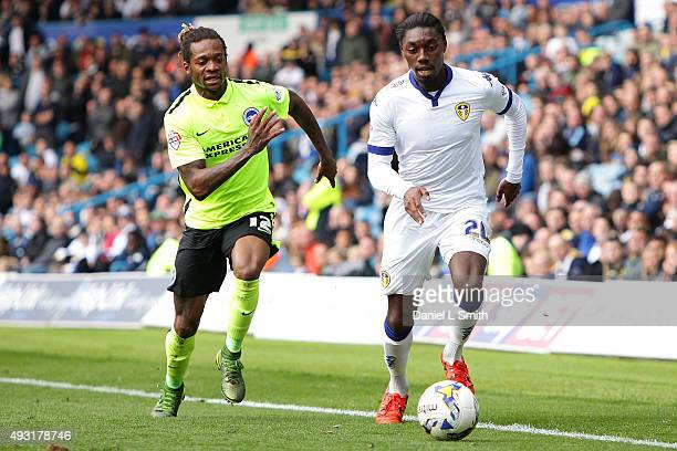 Gaetan Bong of Brighton Hove Albion FC chases down Jordan Botaka of Leeds United FC during the Sky Bet Championship match between Leeds United and...