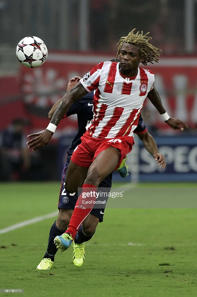 <a gi-track='captionPersonalityLinkClicked' href=/galleries/search?phrase=Gaetan+Bong&family=editorial&specificpeople=4094473 ng-click='$event.stopPropagation()'>Gaetan Bong</a> of Olympiacos FC in action during the UEFA Champions League group stage match between Olympiacos FC and Paris Saint-Germain FC held on September 17, 2013 at the Georgios Karaiskakis Stadium in Athens, Greece.