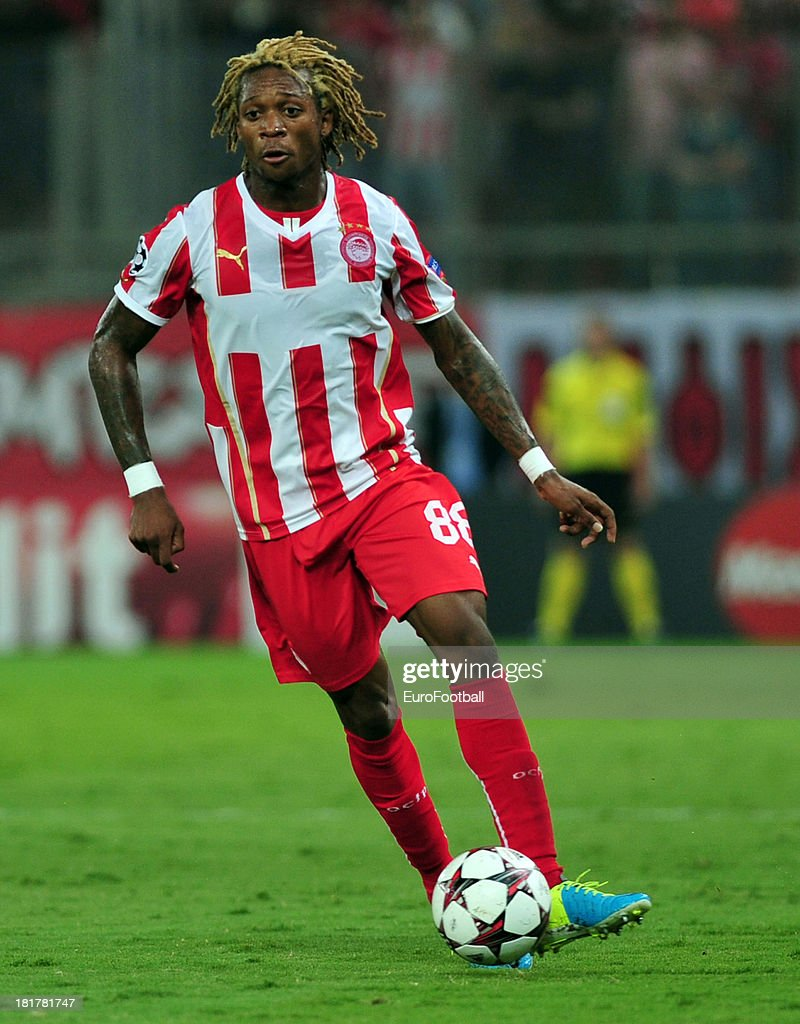 Gaetan Bong of Olympiacos FC in action during the UEFA Champions League group stage match between Olympiacos FC and Paris Saint-Germain FC held on September 17, 2013 at the Georgios Karaiskakis Stadium in Athens, Greece.