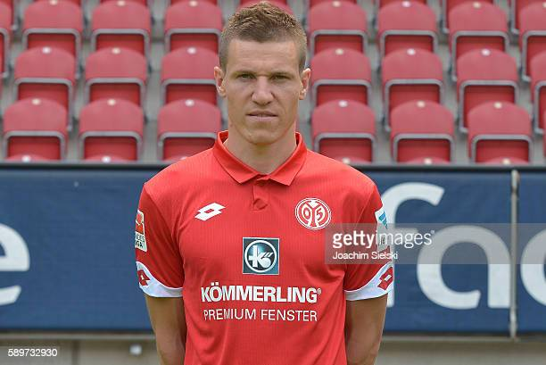 Gaetan Bussmann poses during the official team presentation of 1 FSV Mainz 05 at Opel Arena on July 25 2016 in Mainz Germany