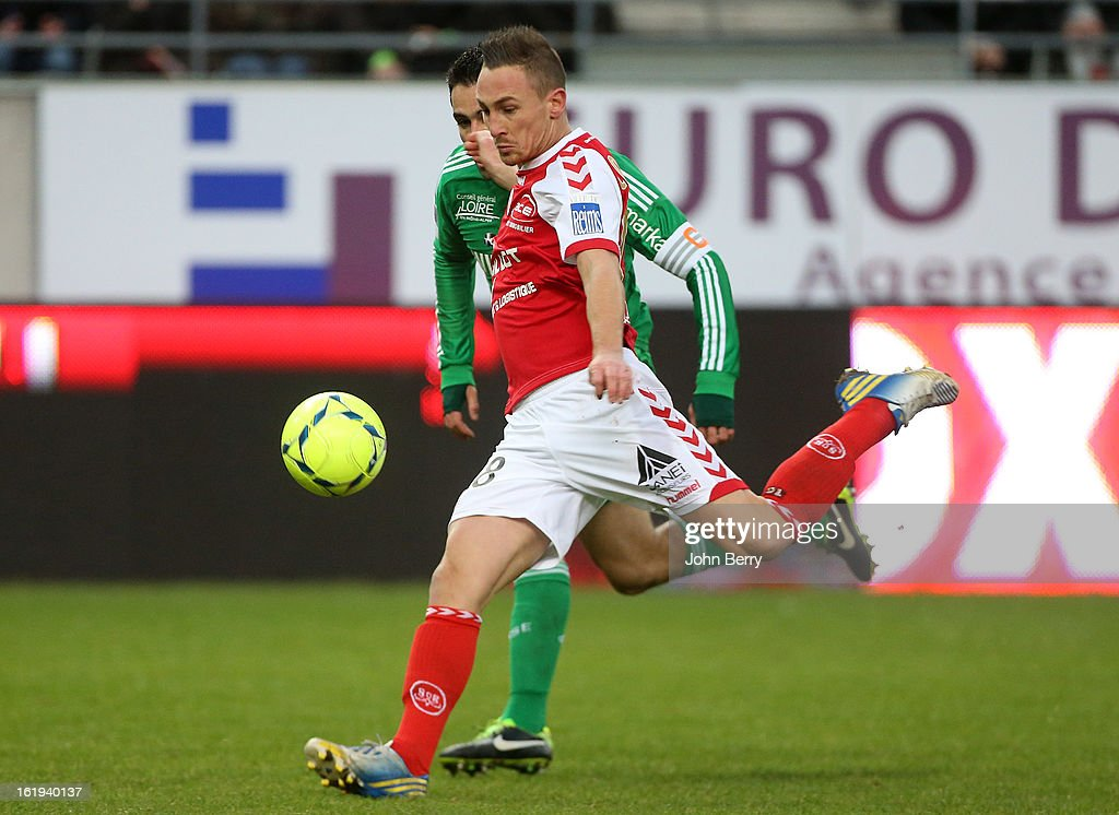 Gaetan Courtet of Reims in action during the french Ligue 1 match between Stade de Reims and AS Saint-Etienne at the Stade Auguste Delaune on February 17, 2013 in Reims, France.