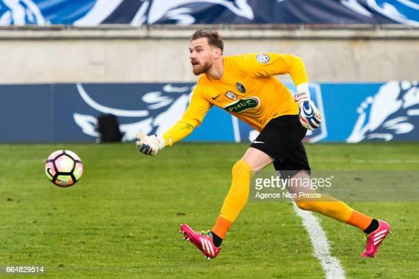Gaetan Deneuve of Frejus during the French National Cup Quarter Final match between Frejus Saint Raphael and En Avant Guingamp on April 4 2017 in...