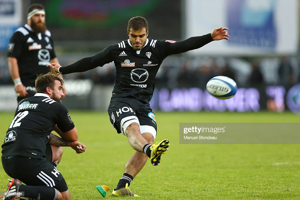 Gaetan Germain of Brive during the French Top 14 rugby union match between SU Agen v CA Brive at Stade Armandie on April 30, 2016 in Agen, France.