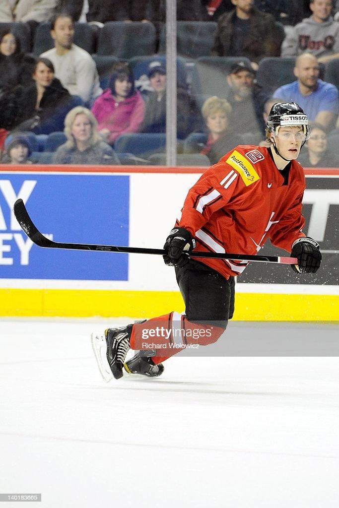 Gaetan Haas #11 of Team Switzerland skates during the 2012 World Junior Hockey Championship game against Team Denmark at the Saddledome on January 2, 2012 in Calgary, Alberta, Canada.