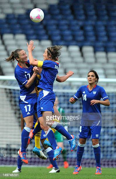 Gaetane Thiney of France heads the ball during the Women's Football Quarter Final match between Sweden and France on Day 7 of the London 2012 Olympic...