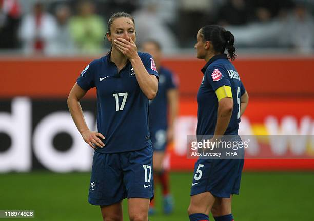 Gaetane Thiney of France looks dejected after defeat to USA in the FIFA Women's World Cup Semi Final match between France and USA at BorussiaPark...