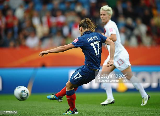 Gaetane Thiney of France scores the second goal during the FIFA Women's World Cup 2011 Group A match between Canada and France at the Fifa Womens...