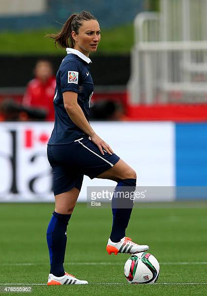 Gaetane Thiney of France takes the ball to start the match against England during the FIFA Women's World Cup 2015 Group F match at Moncton Stadium on...