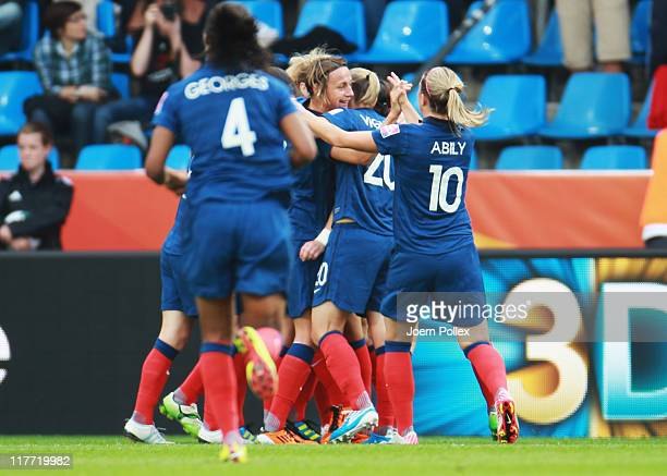 Gaetane Thiney of Francecelebrates with her team mates after scoring her team's first goal during the FIFA Women's World Cup 2011 Group A match...