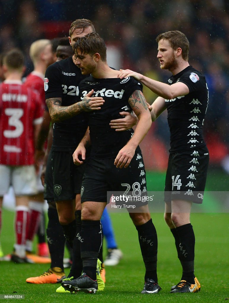 Gaetano Berardi of Leeds United (C) is restrained by team mates after a clash with Matt Taylor of Bristol City resulting in a red card for both during the Sky Bet Championship match between Bristol City and Leeds United at Ashton Gate on October 21, 2017 in Bristol, England.