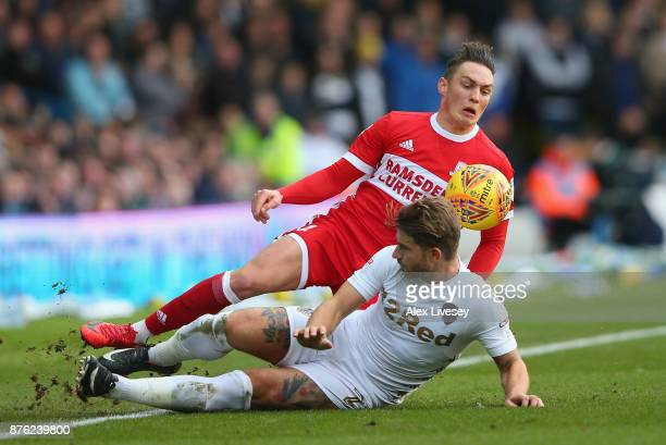 Gaetano Berardi of Leeds United tackles Connor Roberts of Middlesbrough during the Sky Bet Championship match between Leeds United and Middlesbrough...