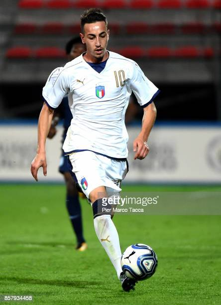 Gaetano Castrovilli of Italy U20 in action during the 8 Nations Tournament match between Italy U20 and England U20 on October 5 2017 in Gorgonzola...