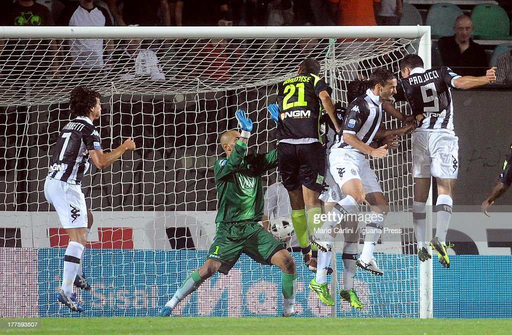 Gaetano D'Agostino # 21 of AC Siena scores his team's third goal during the Serie B match between AC Siena and FC Crotone at Stadio Artemio Franchi on August 24, 2013 in Siena, Italy.