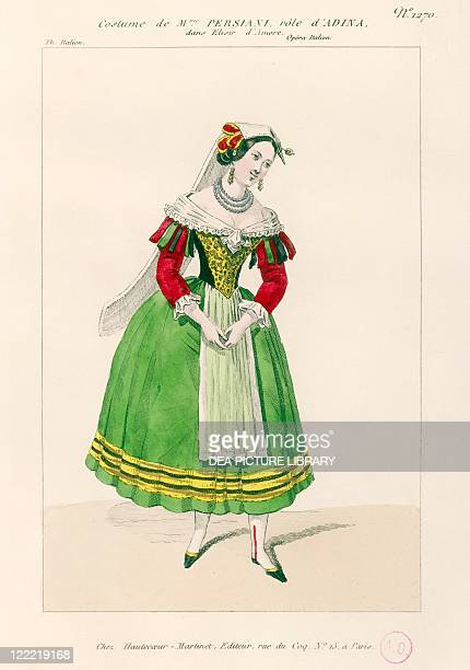 Gaetano Donizetti L'elisir d'amore 1832 Costume sketch for Adina performed by Fanny Tacchinardi Persiani at Paris Theatre Italien 1839