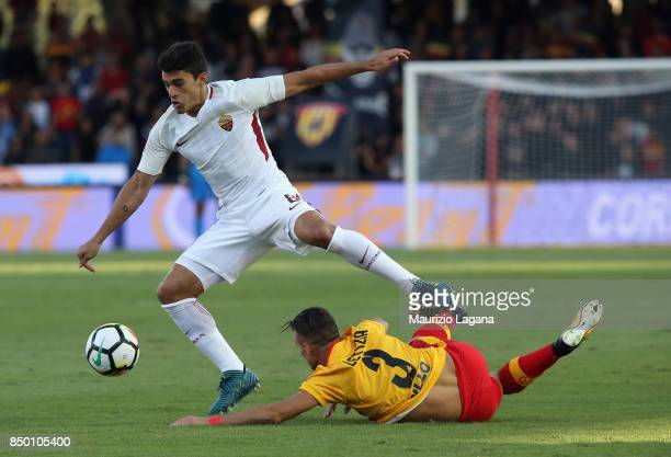 Gaetano Letizia of Benevento competes for the ball with Diego Perotti of Roma during the Serie A match between Benevento Calcio and AS Roma at Stadio...