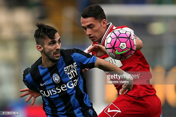Gaetano Letizia of Carpi FC battles for the ball with Marco D'Alessandro of Atalanta BC during the Serie A match between Carpi FC and Atalanta BC at...