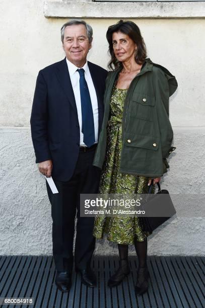 Gaetano Marzotto and Aberrtina Marzotto attend a 'Private view of 'TV 70 Francesco Vezzoli Guarda La Rai' at Fondazione Prada on May 7 2017 in Milan...