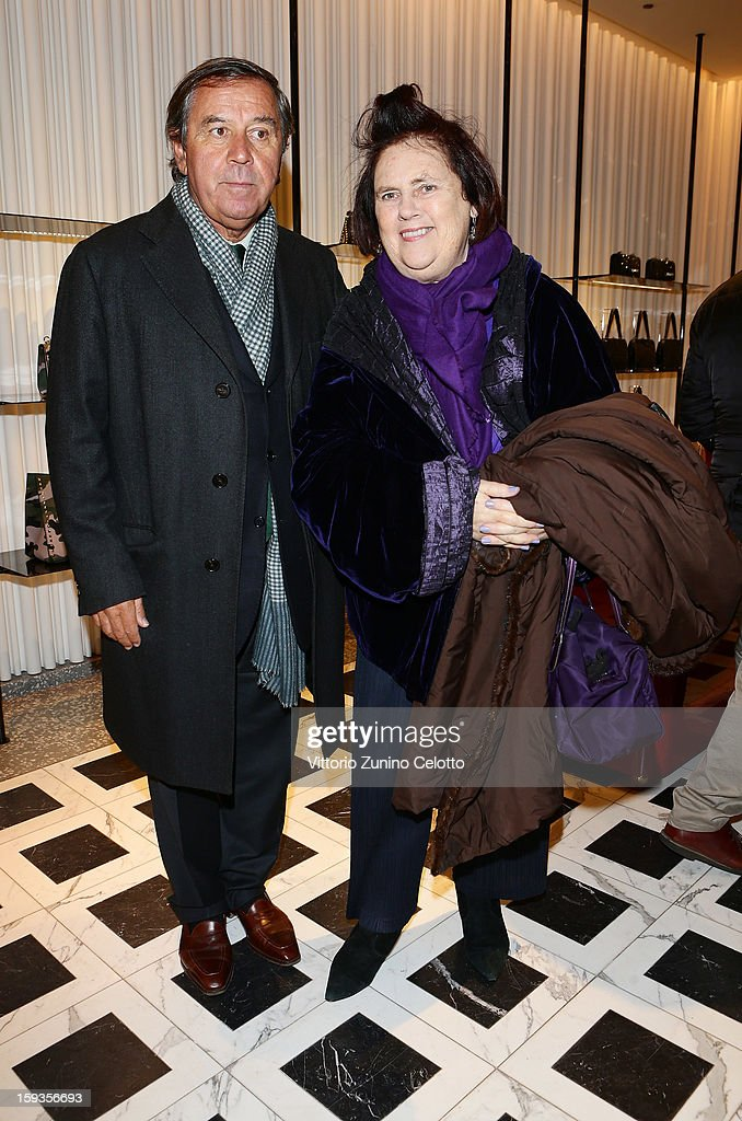 Gaetano Marzotto and Suzy Menkes attend Valentino Cocktail Party as part of Milan Fashion Week Menswear Autumn/Winter 2013 on January 12, 2013 in Milan, Italy.