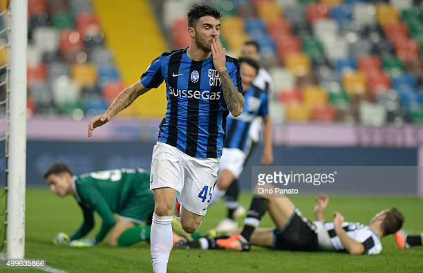 Gaetano Monachello of Atalanta BC celebrates after scoring his team's first goal during the TIM Cup match between Udinese Calcio and Atalanta BC at...