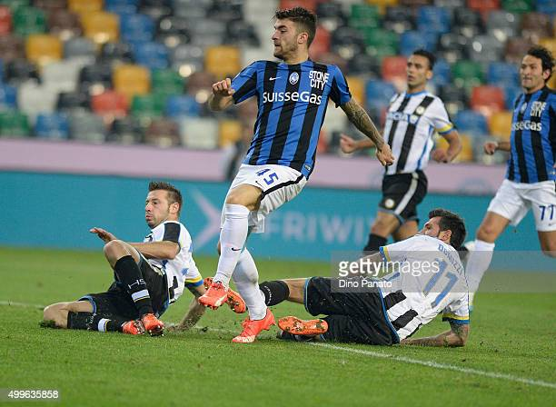 Gaetano Monachello of Atalanta BC scores his team's first goal during the TIM Cup match between Udinese Calcio and Atalanta BC at Stadio Friuli on...