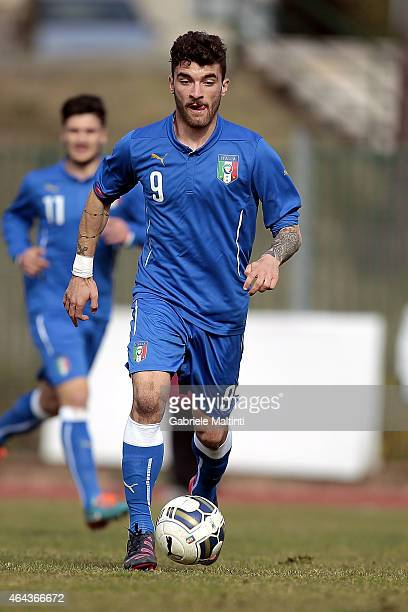 Gaetano Monachello of Italy U20 in action during the international friendly match between Italy U20 and Qatar U20 on February 25 2015 in Montelupo...