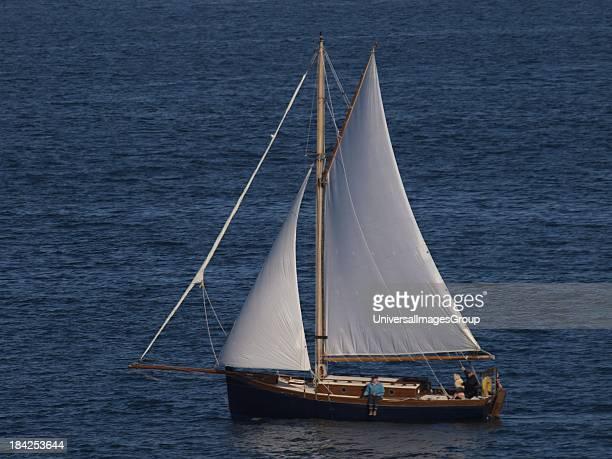 Gaff rigged sloop Yacht Cornwall UK