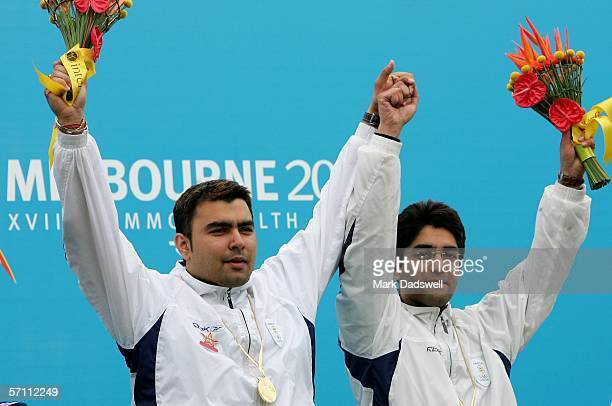 Gagan Narang and Abhinav Bindra of India celebrate winning the Men's 10m Air Rifle Pairs Final at the Melbourne International Shooting Club on day...