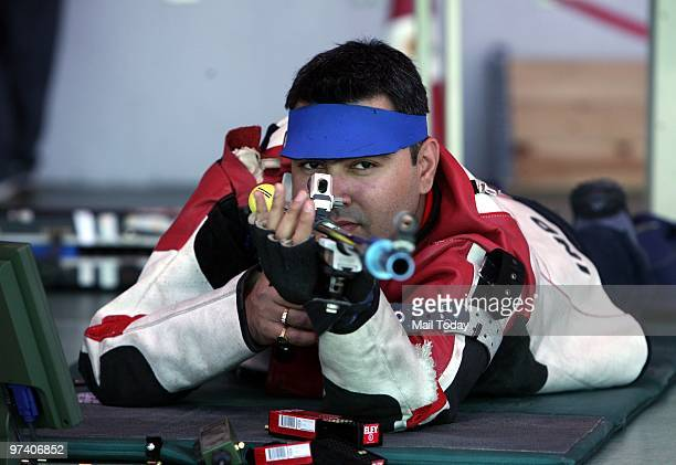 Gagan Narang in action at Dr Karni Singh ranges at the Commonwealth Shooting Championship on Friday February 26 2010