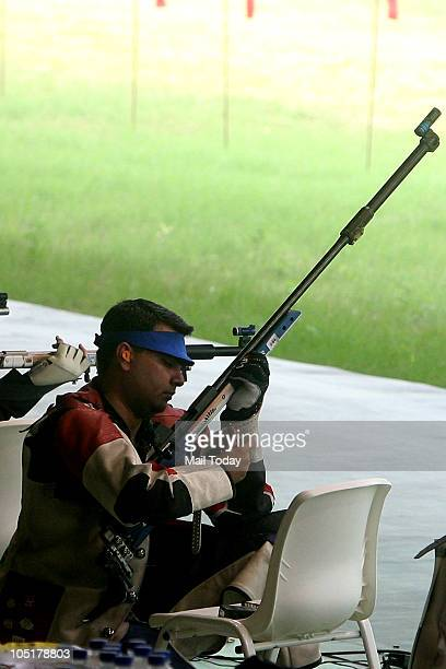 Gagan Narang India's gold medal winning shooter in the Commonwealth Games' pairs 50metre rifle 3 positions at Dr K S Shooting Range at the...