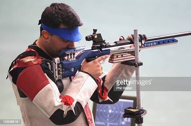 Gagan Narang of India competes in the 50m Mens Rifle event at the Dr Karni Singh Shooting Range during day six of the Delhi 2010 Commonwealth Games...