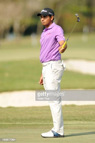 Gaganjeet Bhullar of India in action during day 4 of the Avantha Masters at Jaypee Greens Golf Course on March 17 2013 in Noida India