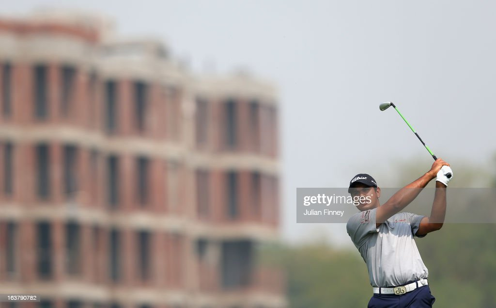 Gaganjeet Bhullar of India in action during day three of the Avantha Masters at Jaypee Greens Golf Club on March 16, 2013 in Delhi, India.