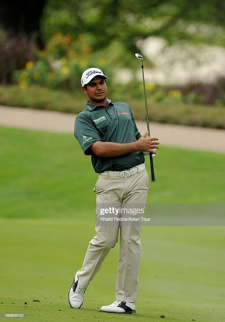 Gaganjeet Bhullar of India in action during round two of the CIMB Classic at Kuala Lumpur Golf & Country Club on October 25, 2013 in Kuala Lumpur, Malaysia.