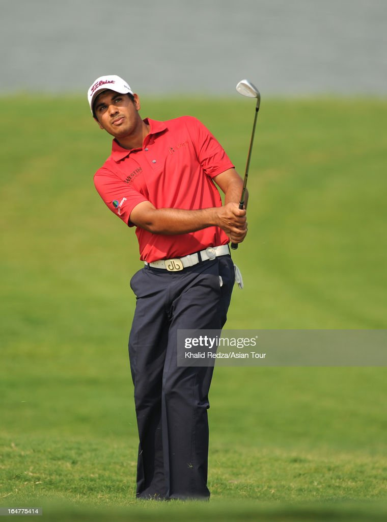 Gaganjeet Bhullar of India plays a shot during round one of the Chiangmai Golf Classic at Alpine Golf Resort-Chiangmai on March 28, 2013 in Chiang Mai, Thailand.