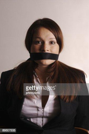 Femme Baillonnee gagged stock photo | thinkstock
