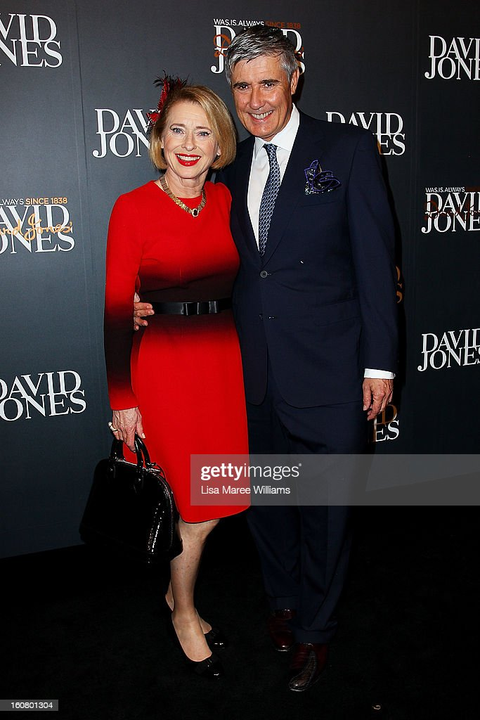 <a gi-track='captionPersonalityLinkClicked' href=/galleries/search?phrase=Gai+Waterhouse&family=editorial&specificpeople=239456 ng-click='$event.stopPropagation()'>Gai Waterhouse</a> and Robbie Waterhouse arrive at the David Jones A/W 2013 Season Launch at David Jones Castlereagh Street on February 6, 2013 in Sydney, Australia.