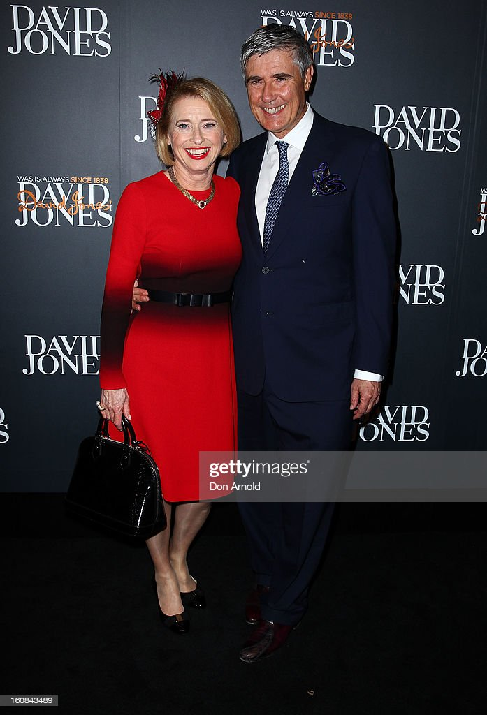 Gai Waterhouse and Robbie Waterhouse arrive for the David Jones A/W 2013 Season Launch at David Jones Castlereagh Street on February 6, 2013 in Sydney, Australia.