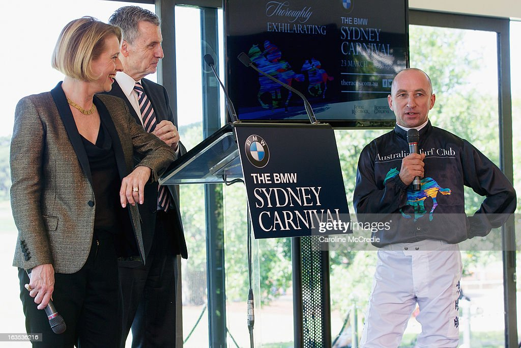 <a gi-track='captionPersonalityLinkClicked' href=/galleries/search?phrase=Gai+Waterhouse&family=editorial&specificpeople=239456 ng-click='$event.stopPropagation()'>Gai Waterhouse</a>, Bruce McAvaney and Jim Cassidy at the BMW Sydney Carnival launch at Centennial Park on March 12, 2013 in Sydney, Australia.